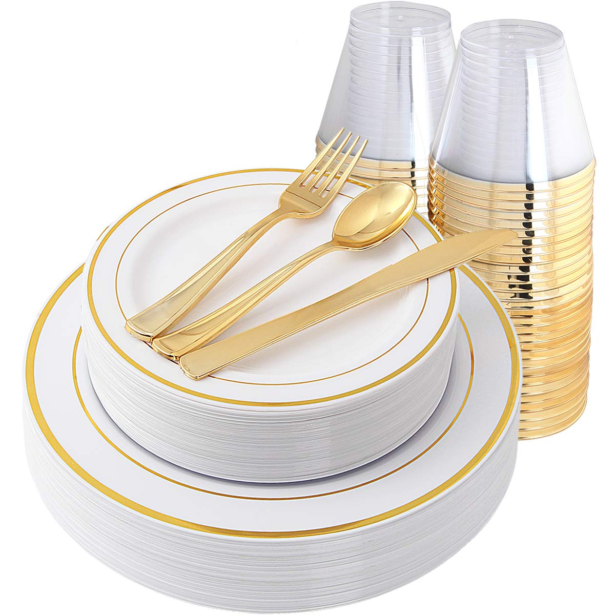 IOOOOO Gold Plates & Plastic Silverware & Gold Cups, Disposable Dinnerware 150 Pieces Includes: 25 Dinner Plates, 25 Dessert Plates, 25 Tumblers, 25 Forks, 25 Knives, 25 Spoons by IOOOOO