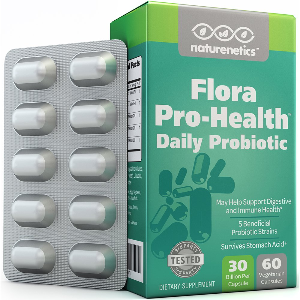 Probiotics 30 Billion Per Capsule; Flora Pro-Health by Naturenetics – 60 Day Supply - Vegan – 3rd Party Tested – No Refrigeration Required
