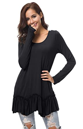 37605f2c4d0 Urban CoCo Women s Casual T-Shirt Solid Long Sleeve Tunic Tops at ...