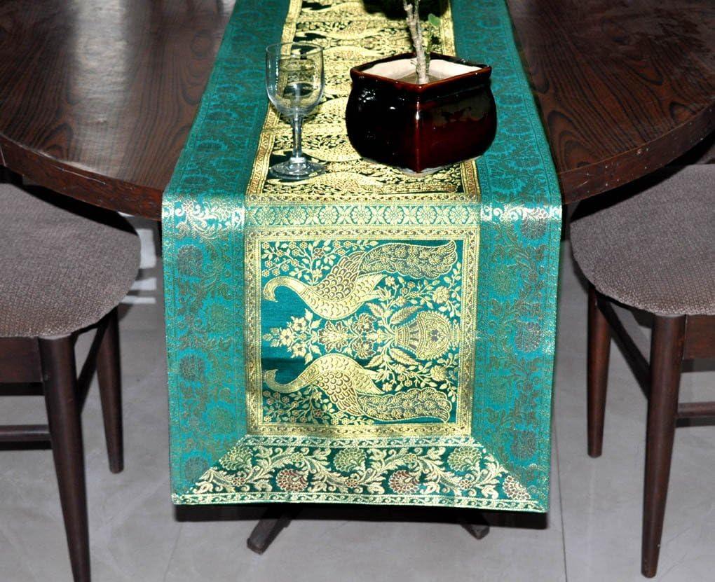 Indio Mesa cocina gamuza de camino de mesa verde camino de mesa de ...