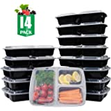 SAMROG 14-Pack 3 Compartment Bento Lunch Boxes with Easy Open Lids – Reusable, Stackable, Microwave, Dishwasher & Freezer Safe, FBA Free - Meal Prep, Portion Control (14-Pack, 3 compartments)