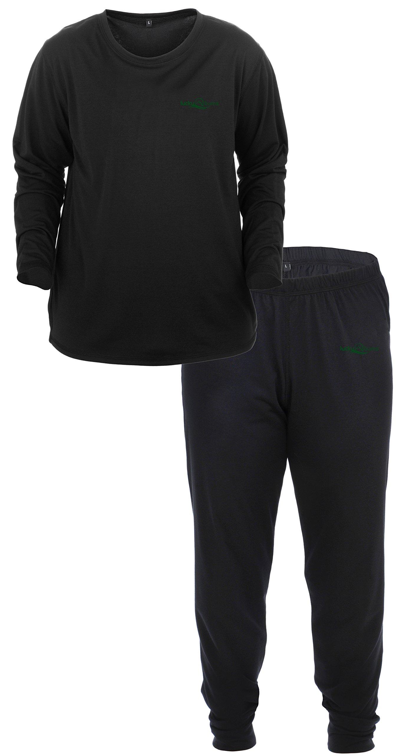 Lucky Bums Kid's Base Layer Long Sleeve Crewneck and Pants Set, Medium
