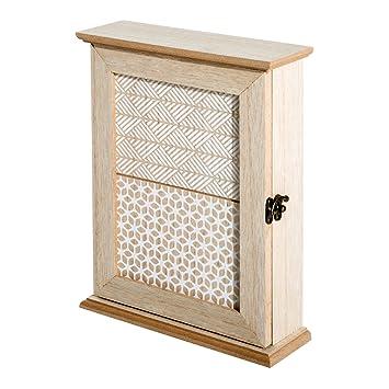 HomCom Caja Llavero de Pared Tipo Armario de Madera para Llaves con 6 Ganchos Estilo Vintage - 20x6.5x26.5cm