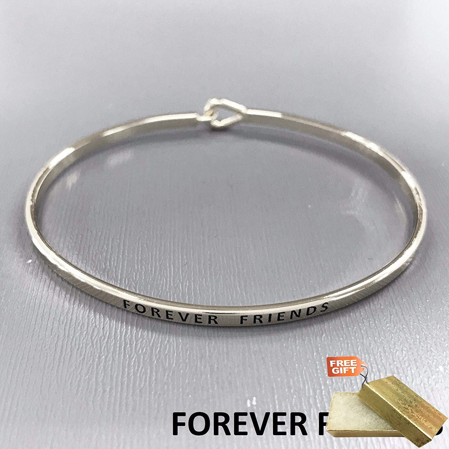 Silver Finished FOREVER FRIENDS Message Engraved Brass Plated Bangle Fashion Jewelry Bracelet For Women Gold Cotton Filled Gift Box for Free