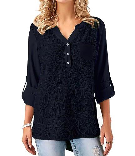 Eforyou - Camisas - con botones - Básico - Manga Larga - para mujer
