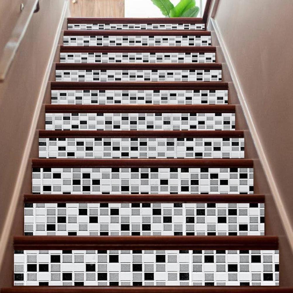 prettyw 6pcs cerámica azulejos patrones diy pasos adhesivo extraíble escalera de vinilo pared pegatinas decoración del hogar 7 x 40 cm: Amazon.es: Hogar