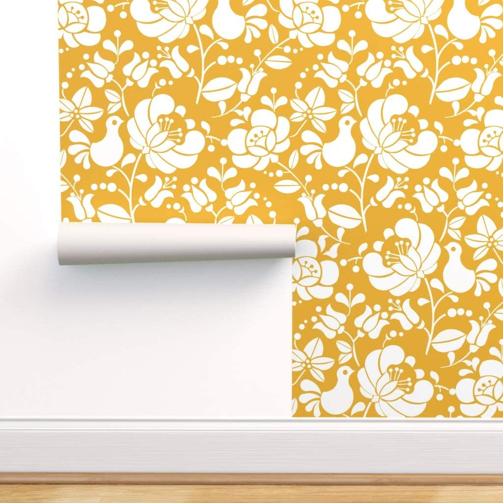 Spoonflower Peel And Stick Removable Wallpaper Butter Yellow