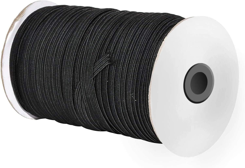 price per 3 metres Flat black elastic 6mm wide ideal for masks black flat sewing elastic ELFL-06-BK