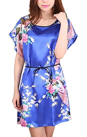 Camison Mujer Pavo Real Y Flores Impresión Elegantes Manga Corta Cuello Redondo Verano Vestido Corto Ropa