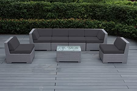 Amazon Com Ohana 7 Piece Outdoor Patio Furniture Sectional Conversation Set Gray Wicker With Gray Cushions No Assembly With Free Patio Cover Garden Outdoor
