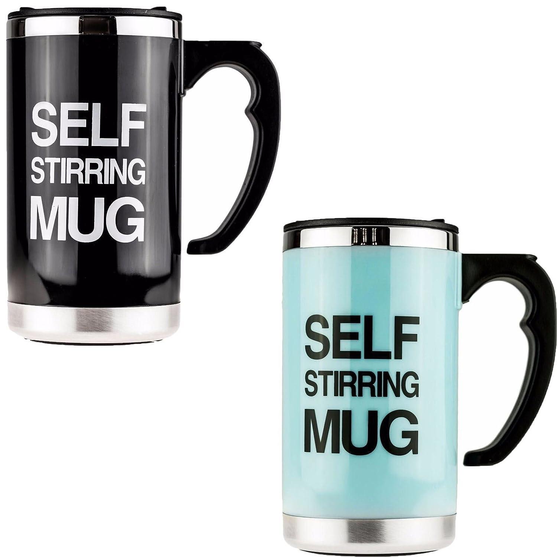 2 x SELF STIRRING MUGS  NOVELTY LAZY MUG TEA COFFEE CUP