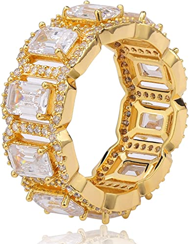 Custom Made Solitaire Eternity Bling Gold CZ Hip Hop Mens Ring