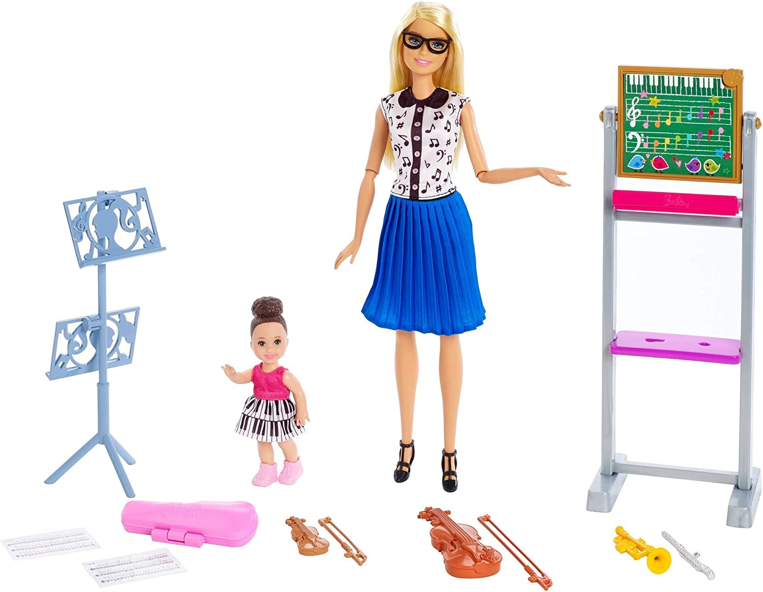 Barbie Music Teacher Doll, Blonde, and Playset with Flipping Chalkboard, Brunette Student Small Doll and 4 Musical Instruments, Career-Themed Toy for 3 to 7 Year Old Kids​​​
