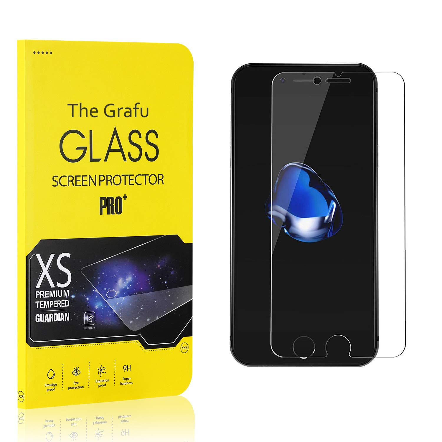 Easy Installation The Grafu Screen Protector Compatible with iPhone 8 // iPhone 7 Scratch Resistant HD Screen Protector Film for iPhone 8 // iPhone 7 1 Pack Tempered Glass