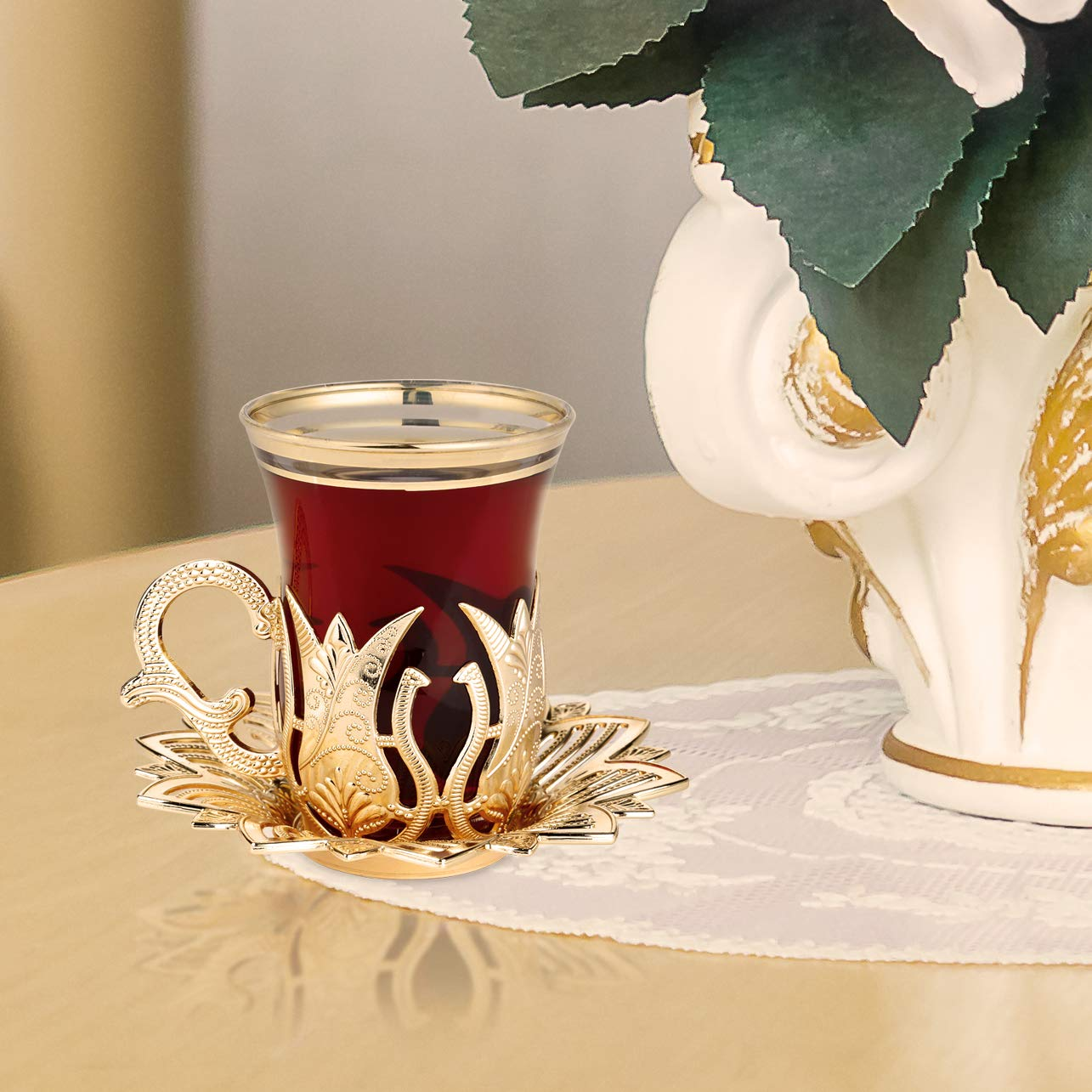 LaModaHome Golden Tea Set of 6 - Includes 6 Glasses, 6 Saucers Holders - VIP Special Serving Turkish Tulip - Arabic, Moroccan Coffee Sets - Machine Washable Cup, Mug (Gold)