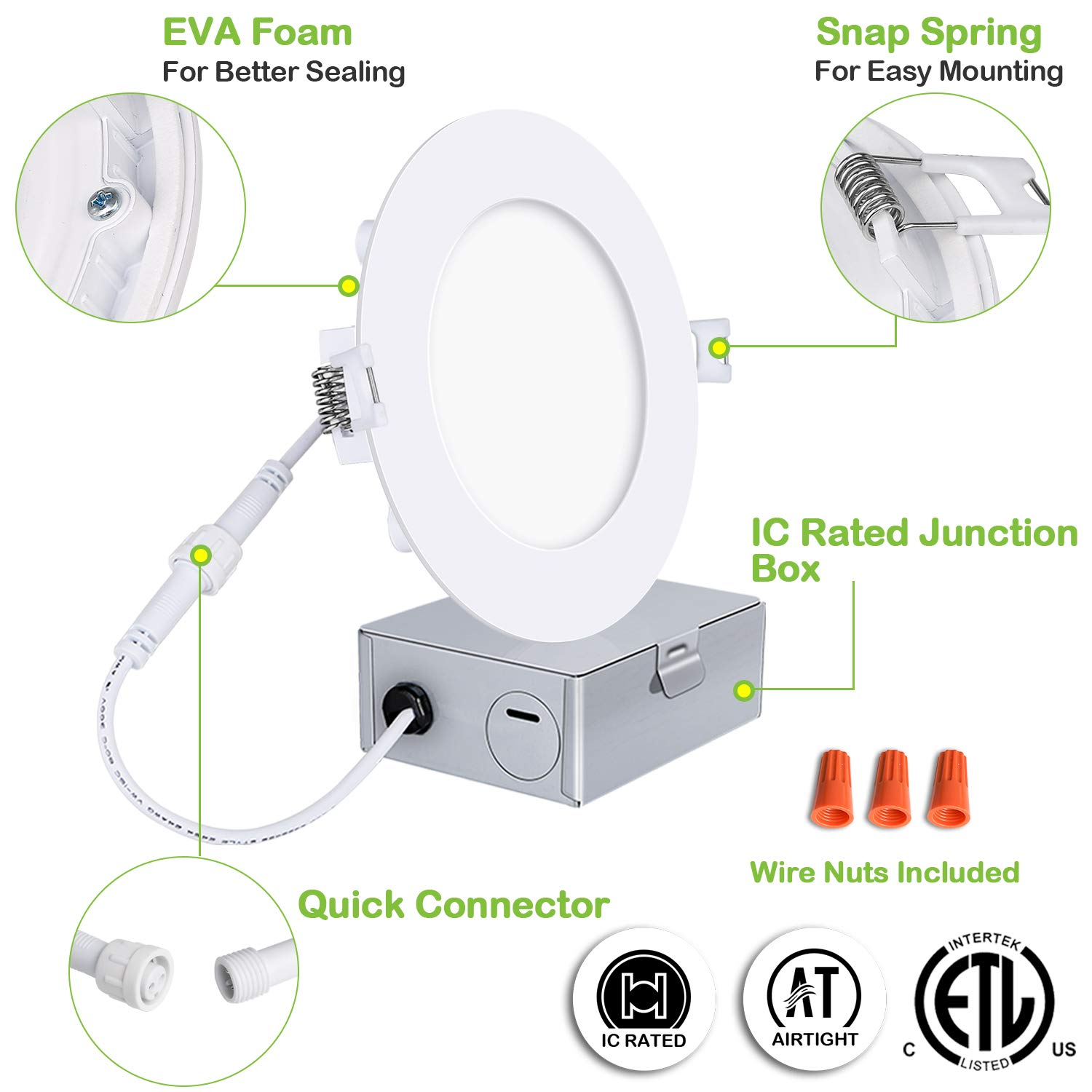 Hykolity 12 Pack 10W 4 Inch LED Slim Recessed Ceiling Light, 800lm, CRI90, 4000K Neutral White, Low Profile Downlight with Junction Box Dimmable, ETL& Energy Star Listed,Title 24 Compliant by hykolity (Image #5)