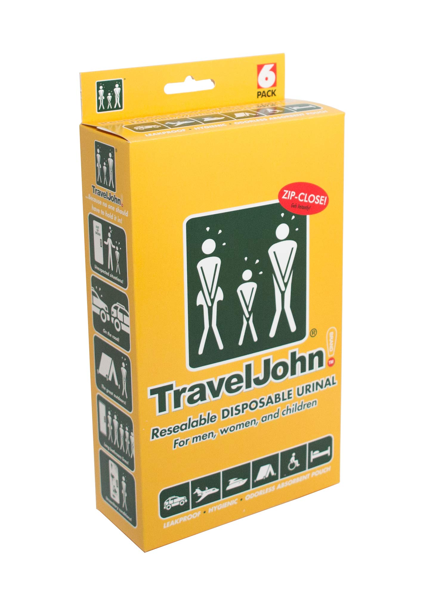 Travel John Resealable Disposable Urinal Bags (TJ1N) - 6 Pack