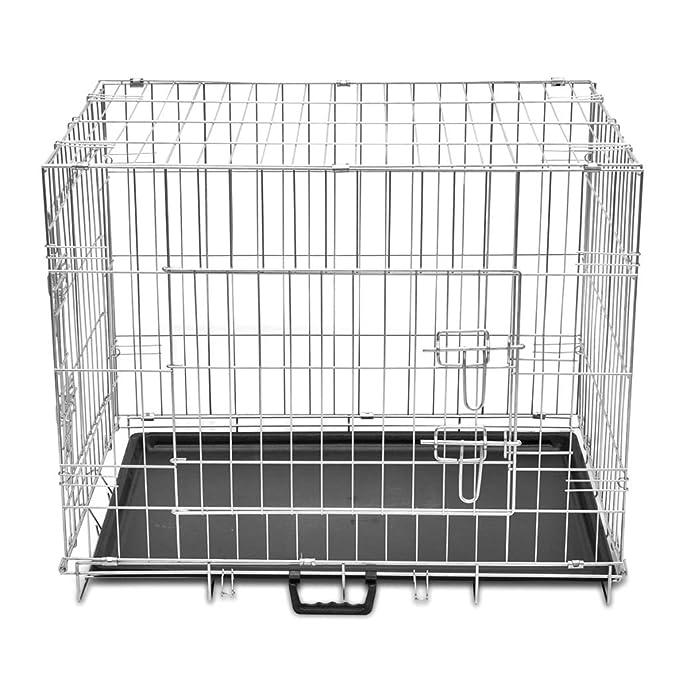 vidaXL Jaula de Perro Plegable de Metal M Transportín Transporte ...