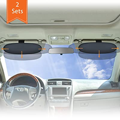 WANPOOL Anti-Glare Car Visor Sunshade Extender for Drivers and Front Seat Passengers (Silver) - 2 Pieces: Baby