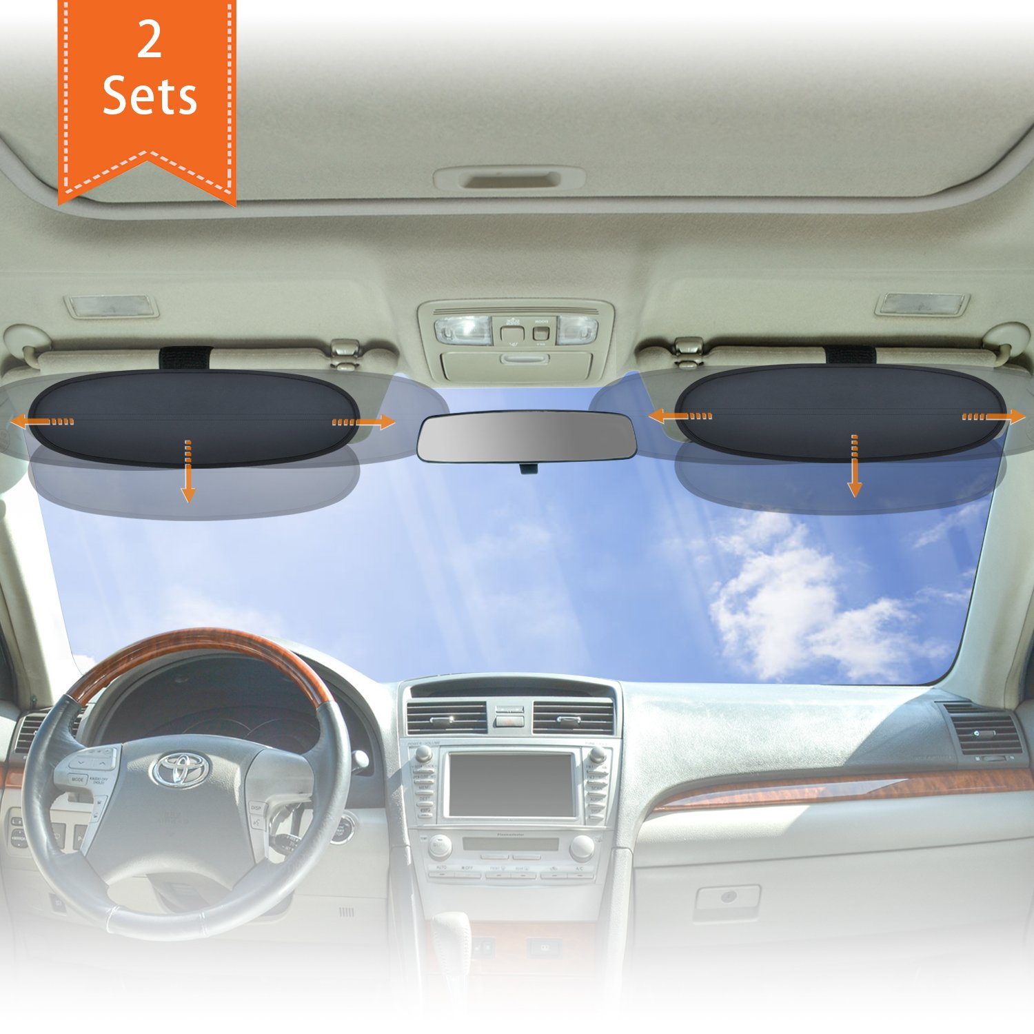 Amazon.com  WANPOOL Anti-Glare Car Visor Sunshade Extender for Drivers and  Front Seat Passengers (Silver) - 2 Pieces  Baby 7c0ad700798