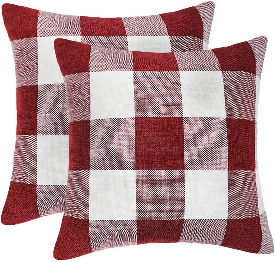 4TH Emotion Set of 2 Red and White Buffalo Check Plaid Throw Pillow Covers Cushion Case Cotton Linen for Christmas Home Decor, 18 x 18 Inches