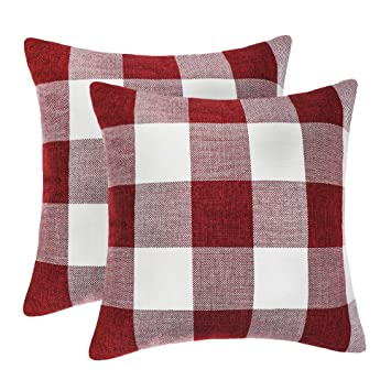 4TH Emotion Set of 2 Red and White Buffalo Check Plaid Throw Pillow Covers Cushion Case Cotton Linen for Christmas Home Decor, 20 x 20 Inches