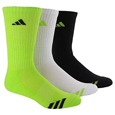 902c32a0b6b59 adidas Men's Cushioned 3 STR Color Crew Sock, Solar Slime/Black/White/Solar  Slime/Black/Solar Slime, 6-12: Amazon.co.uk: Clothing