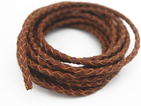 Genuine Round Bolo Braided Leather Cord 4 mm 1 Yard Ship Fast