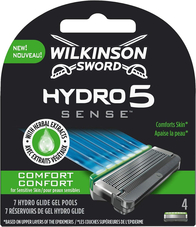Wilkinson Sword Hydro 5 Sense COMFORT - Recambio de Cuchillas de Afeitar de 5 Hojas Ultradeslizantes para Hombres , Banda Lubricante Calmante con Extractos de Hierbas, 4 Unidades