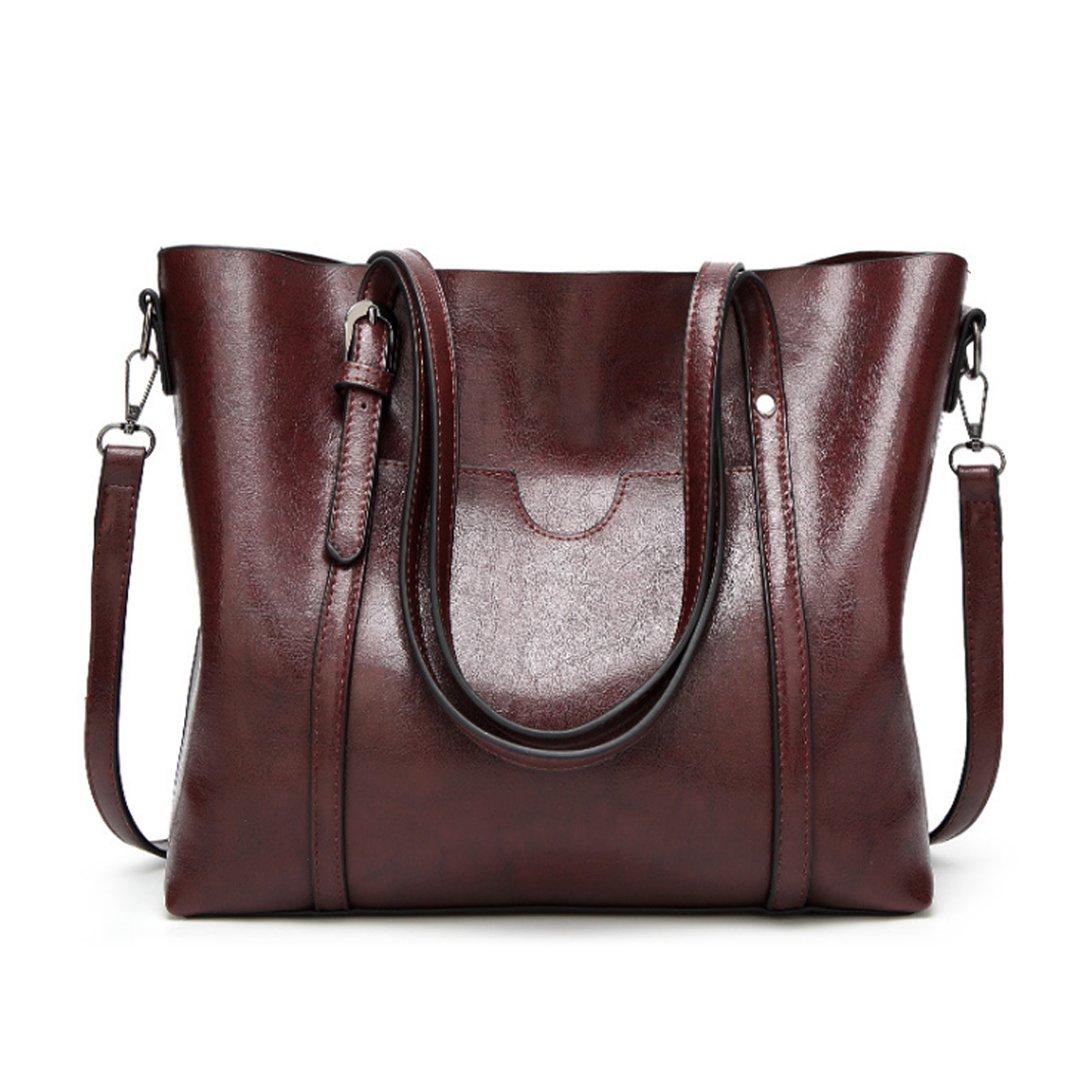 New Women's Vintage Fine Fibre Genuine Leather Bag Tote Shoulder Bag Handbag Model Ciara Coffee
