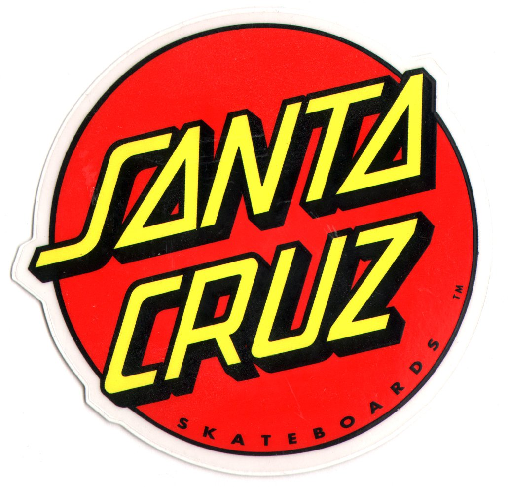 Santa cruz skateboard autocollant avec logo mdium amazon fr sports et loisirs