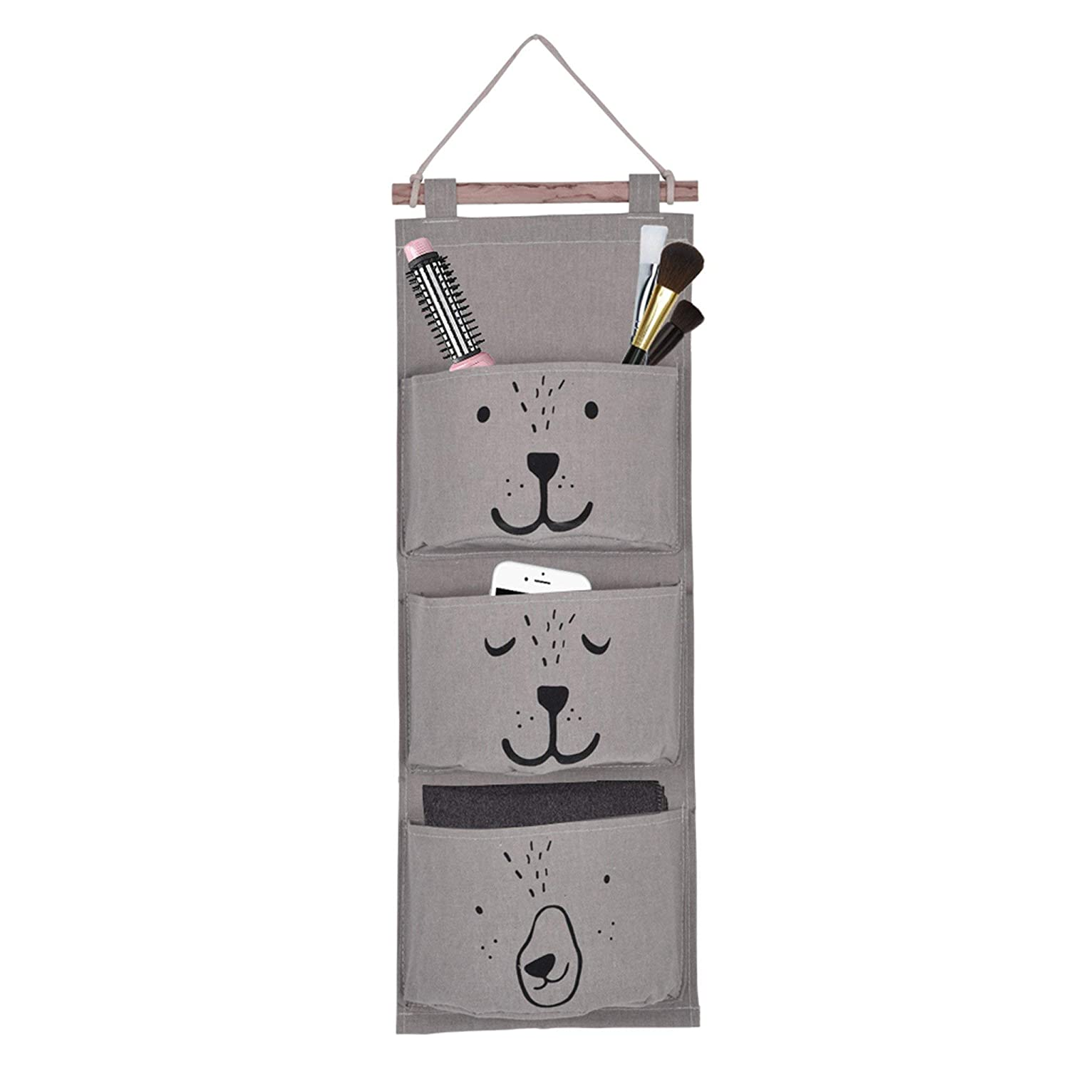 Storage Hanging Bag Linen Fabric Wall Door Pocket Hanging Bags for Socks Shoes Toys Jewelry 3 Pocket, Gray Yosoo LEPAE2308