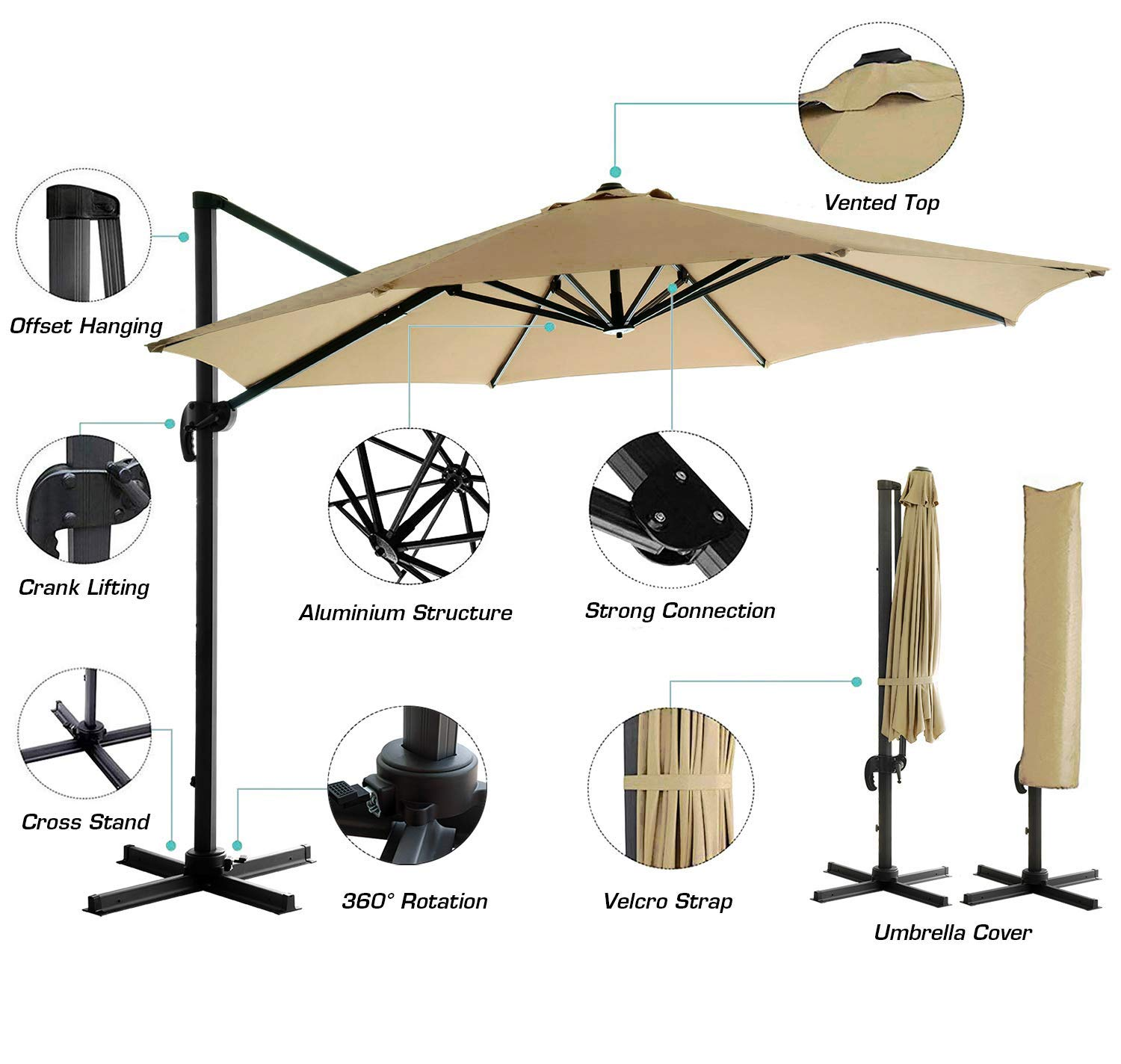HOMEFUN 11ft Patio Aluminium Cantilever Umbrella, Offset Hanging Umbrella with Cross Stand and Cover, Beige