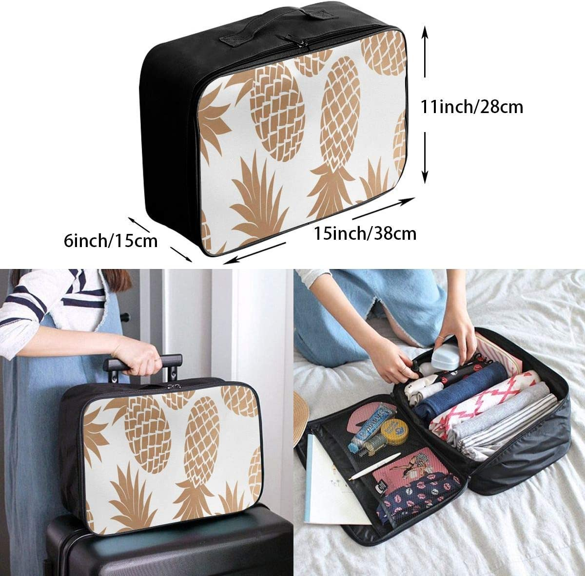 Travel Bags Pineapple Clipart Portable Foldable Trolley Handle Luggage Bag