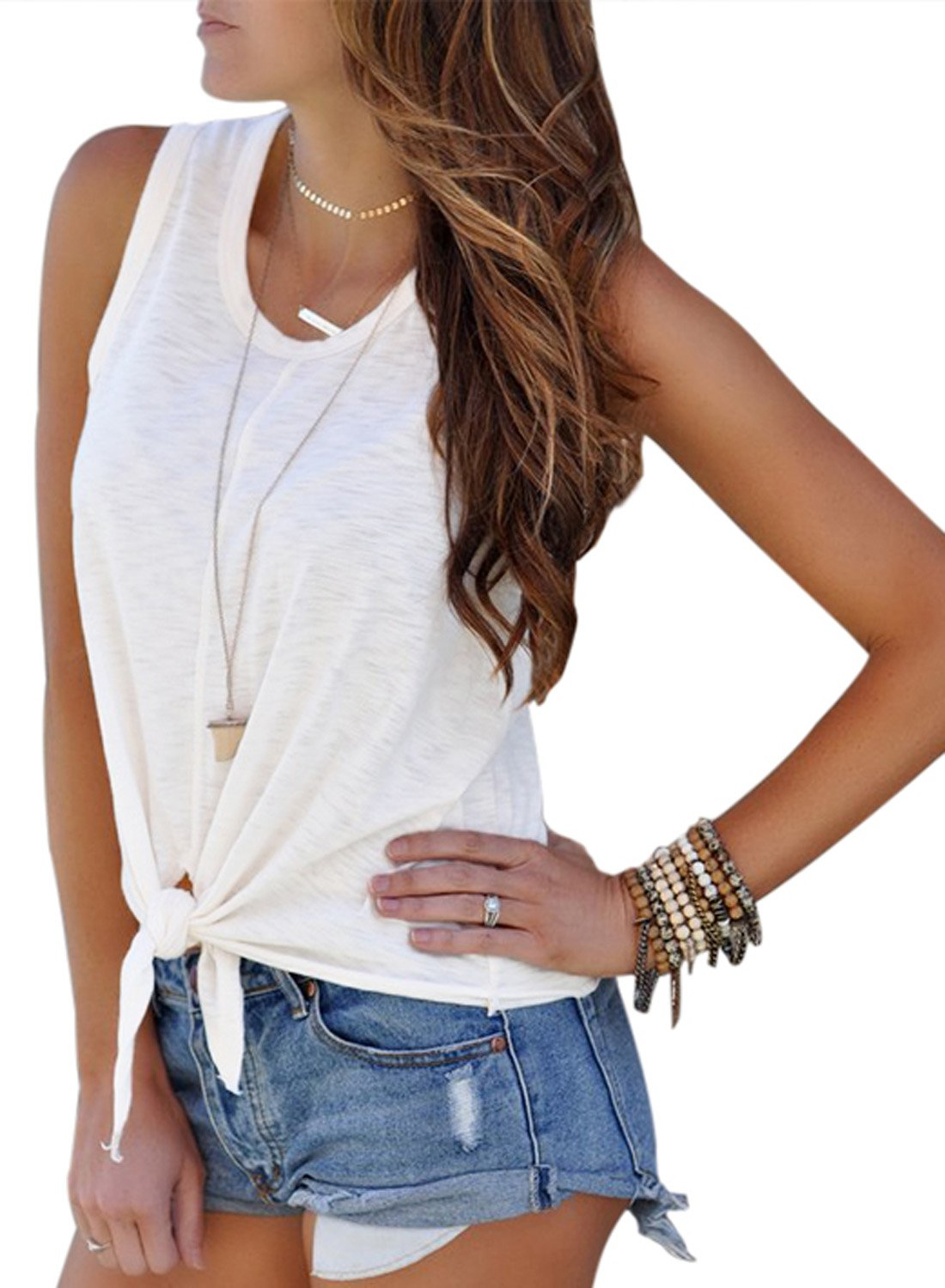 Astylish Womens 2018 Crew Neck Sleeveless Basic Loose T Shirts Casual Loose Tees Tops and Blouses White Medium Size 8 10