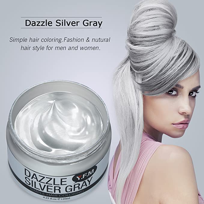 Crema capilar Y.F.M color gris plateado, cera desechable para colorear pelo, unisex, 120 ml: Amazon.es: Belleza