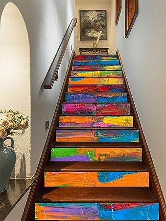FLFK 3D Pintura Al óleo Arco Iris auto-adhesivos Pegatinas de Escalera pared pintura vinilo Escalera calcomanía Decoración 39.3 pulgadas x7.08 pulgadas X 13Piezas: Amazon.es: Bricolaje y herramientas