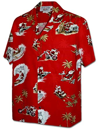 18751c1e9 Pacific Legend Tropcial Santa Men's Christmas Hawaiian Shirt 3922-RED-M at  Amazon Men's Clothing store: