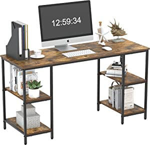 Yusong Home Office Computer Desk,55 Inch Writing Desk with Shelves on Both Sides,Industrial Retro Laptop Desk with Ample Storage Space and Main Frame,Easy Assembly,Rustic Brown