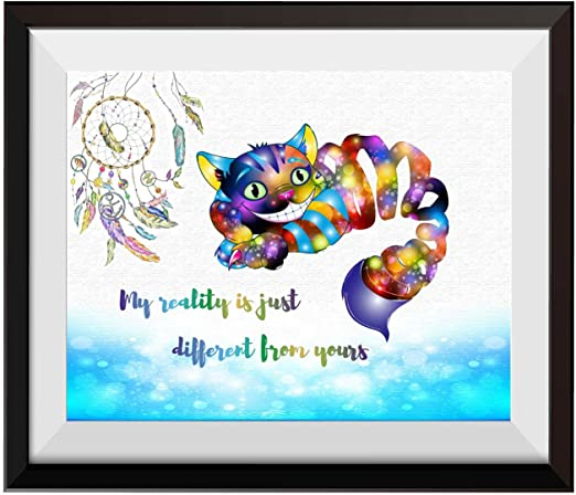 Cheshire Cat Framed Picture Canvas Alice in Wonderland 30x20 Inch Canvas