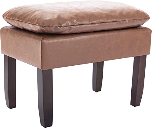 WOVENBYRD 24-Inch Rectangle Pillow Top Faux Leather Ottoman, Light Brown