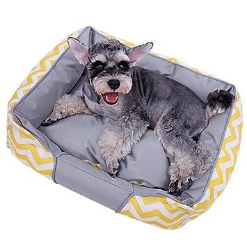 Xinanlongjb Cómodo sofá Respirable para Cama de Mascota Perro Lona casa extraíble cojín Cachorro Gato Cueva Cool diseño Redondo (Color : Amarillo, ...