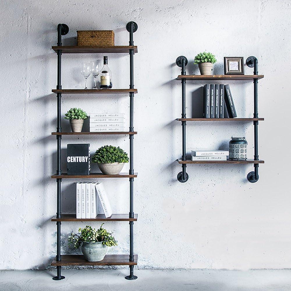 Festnight Etag/ère Style Industrielle Biblioth/èque dangle en Acier et en Bois Capacit/é de Charge 25kg