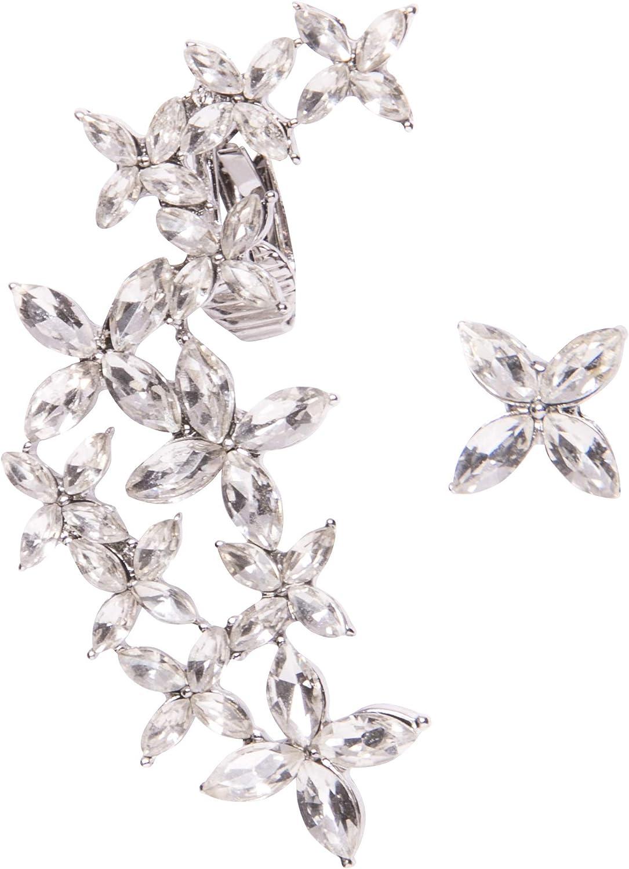 Happiness Boutique Damas Ear Crawlers de Flores en Plata | Pendientes Asimétricos Ear Cuffs con Diamantes de Imitación Claros Libres de Níquel