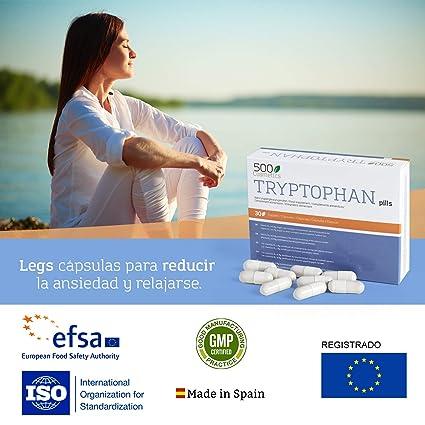 500Cosmetics Tryptophan - Cápsulas Naturales contra el Estrés y la Ansiedad - Mejora la Calidad del Sueño y Ayuda contra el Insomnio - 100% Natural - 1 toma ...