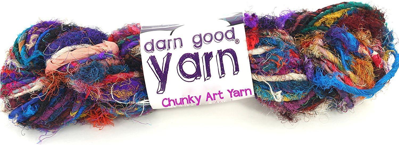 DARN GOOD YARN recycled handmade sari silk ribbon the blender multicolor fabric | silk ribbon knitting yarn, crochet yarn, jewelry making, weaving yarn, gift wrapping ribbon | 100 gram, 55 yard ribbon