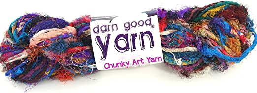 DARN GOOD YARN recycled handmade sari silk ribbon the blender multicolor fabric   silk ribbon knitting yarn, crochet yarn, jewelry making, weaving yarn, gift wrapping ribbon   100 gram, 55 yard ribbon