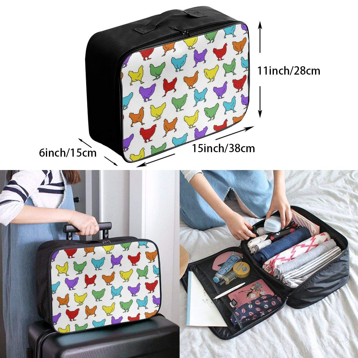 Lightweight Large Capacity Duffel Portable Luggage Bag Hens Chicken Rainbow Travel Waterproof Foldable Storage Carry Tote Bag