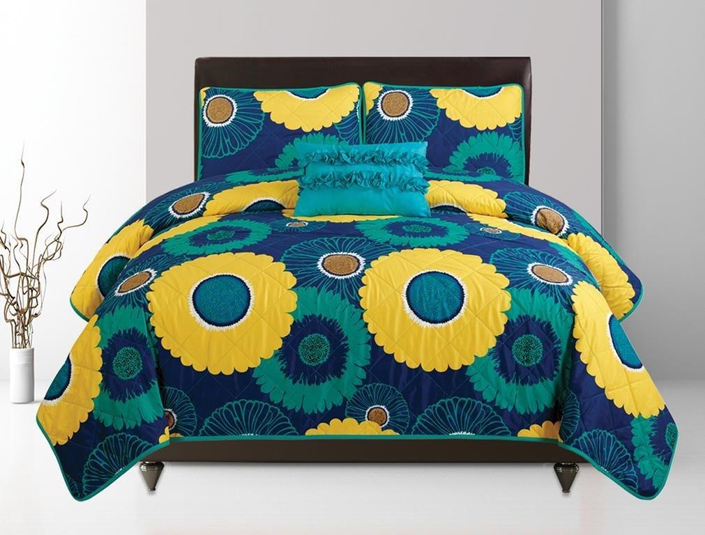 Elisha by Artistic Linen 4-Piece Quilt Set, Blue/Yellow, Twin