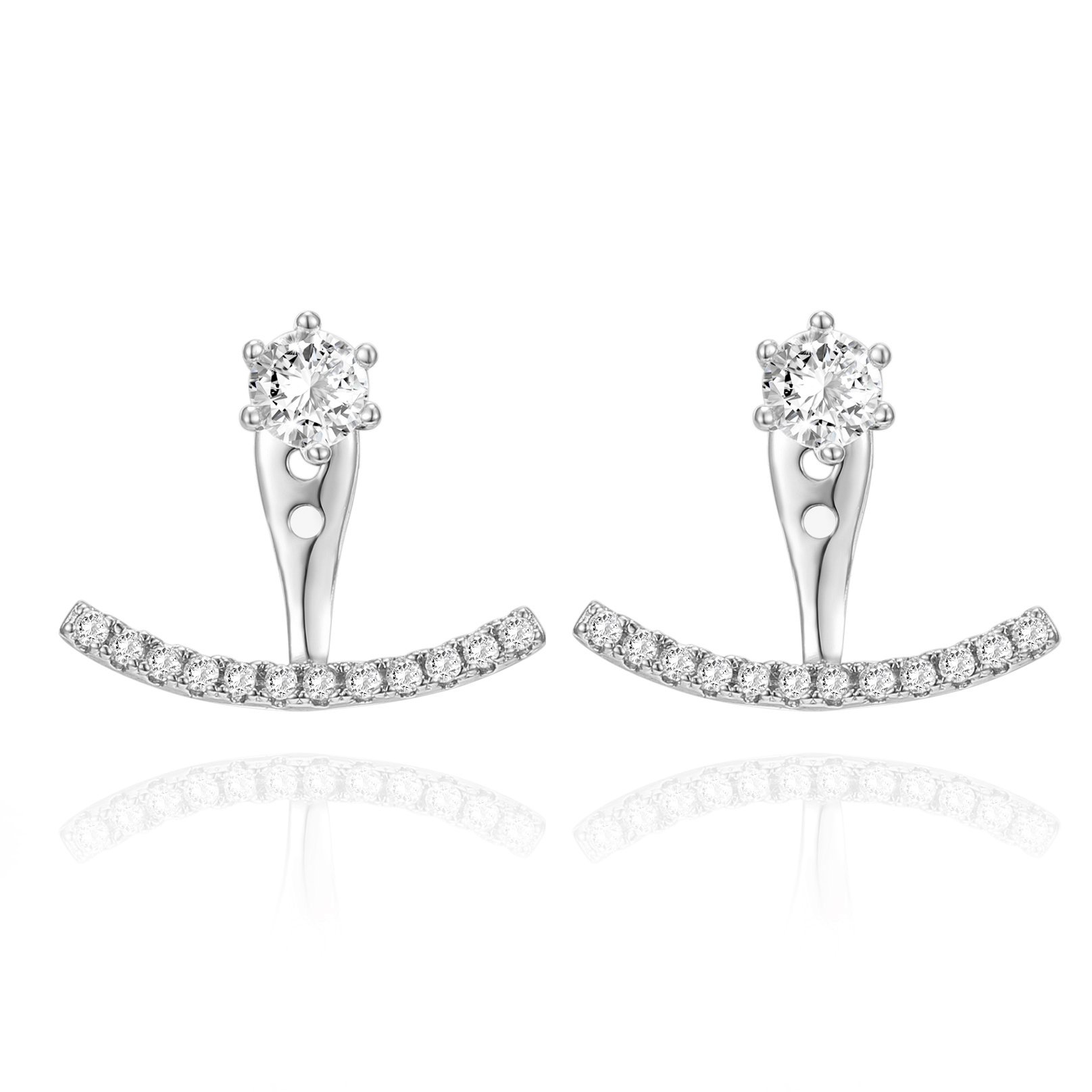 PAVOI 14K White Gold Plated Sterling Silver Post Cubic Zirconia Stud Earrings with Huggie Crawler Enhancer